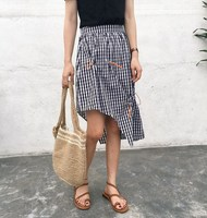 Women Skirt Plaid Ghost Horse Is Less Draw String Irregular Design Feeling Skirts Red Black 5217