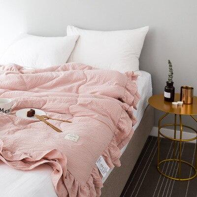 Однотонное розовое, зеленое, тонкое летнее одеяло, покрывало для кровати, лоскутное одеяло, подходит для взрослых, детей, домашний текстиль - Цвет: E