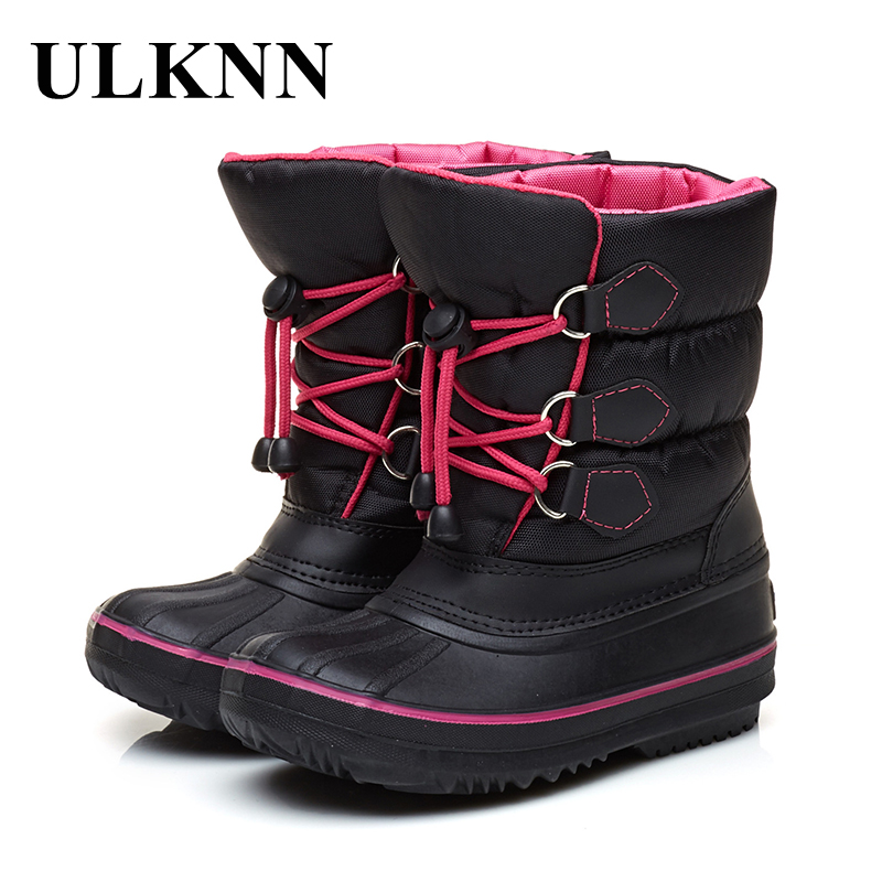 ULKNN Winter Children Boots Thick Warm Shoes For Baby Girls Boys Snow Boots Kids Shoes Plush Flat Mid Calf Waterproof boots snow toddler fur warm boots soft mid calf kids booties waterproof baby winter pink shoes little girls boys infant boot kt902