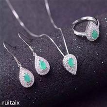 цена KJJEAXCMY boutique jewels 925 Pure silver natural emeralds necklace inlaid jewelry female style gemstone pendant drops онлайн в 2017 году