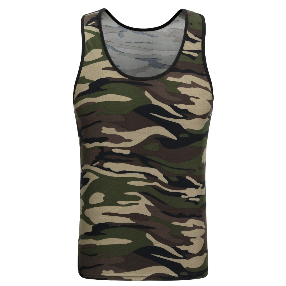 2017 SAVIVA Men   Tank     Top   Cotton High Quality O-neck Striped Tee Camo Army Green Sleeveless for wholesale Camouflage   Tank     Tops