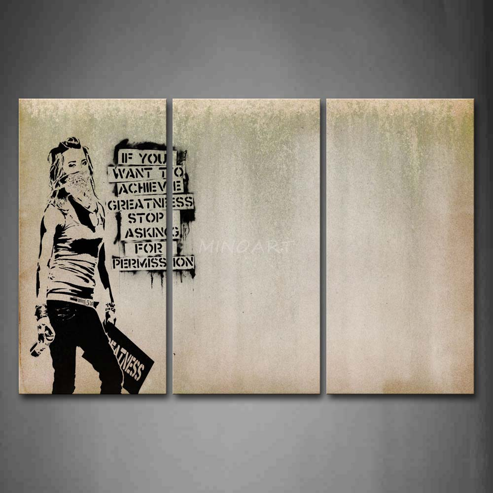 3 piece wall art painting cool girl looks arrogant print for Wall art painting