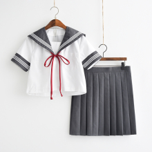 2018 Gray Japanese School Kawaii Girl Student Uniforms Summer Lolita Sailor Uniform Cosplay XJ4802