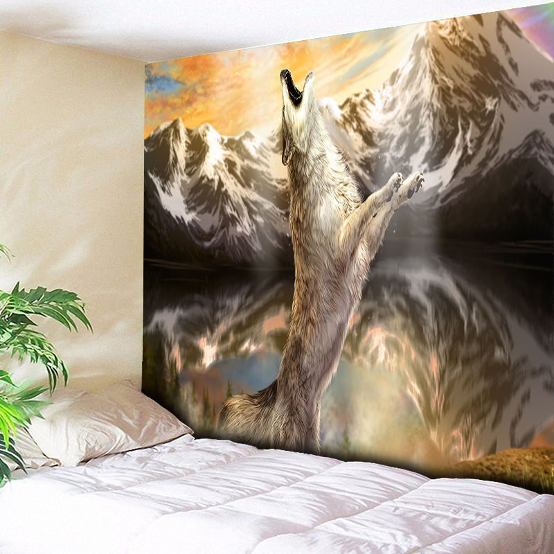 Dutiful Valley Wolf Howling Scene Wall Carpet Home Decor Tapestry Wall Hanging Beach Towel,bedside Tapestries Living Room Couch Blanket In Short Supply Home Textile Home & Garden