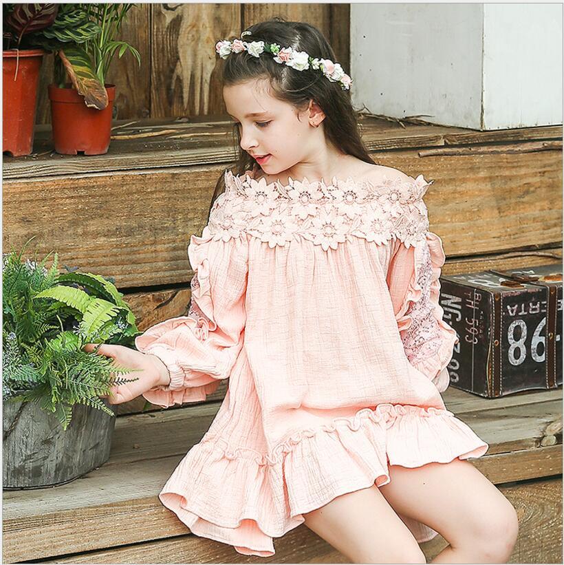 Summer Bohemian Beach Girls Dress Vintage Lace Shoulderless Dress For Girl Vestido Toddler Kids Clothing 4t