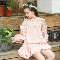 Summer Bohemian Beach Girls Dress Vintage Lace Shoulderless Dress For Girl Vestido Toddler Kids Clothing 4t