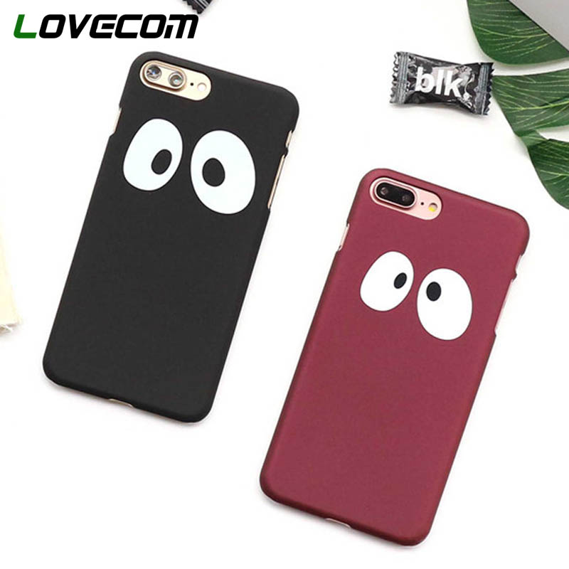 LOVECOM Cartoon Lovely Panda Eyes Phone Case for iPhone 5 5S SE 6 6S 7 8 Plus X Matte Touch Hard PC Back Cover Bag Capa