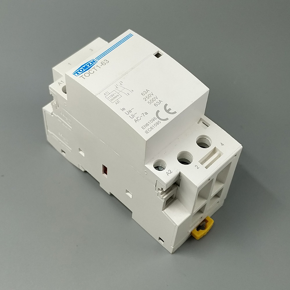 TOCT1 2P 63A 110V COIL 230V/220V 50/60HZ Din rail Household ac Modular contactor 2NO 1NC 1NO toct1 2p 16a 220v 230v 50 60hz din rail household ac modular contactor 2no or 1no 1nc