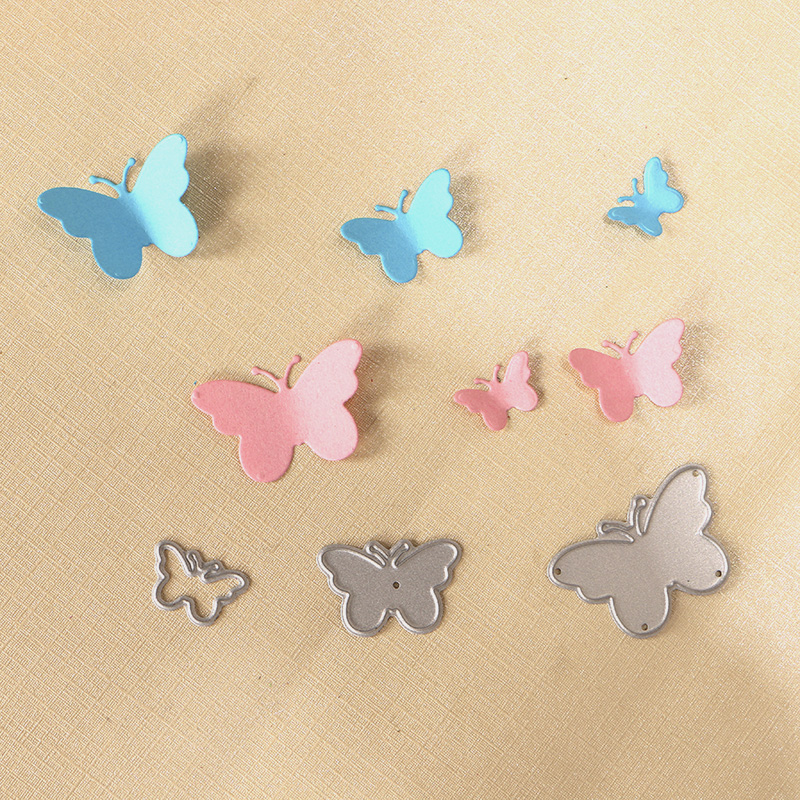 DUOFEN METAL CUTTING DIES 010264 3pcs Small Solid Butterflies  Embossing Stencil DIY Scrapbook Paper Album 2018 New