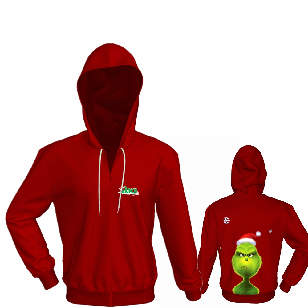 X-COSTUME How the Grinch Stole Christmas Grinch Hoodie Adult Hooded Digital Printed Compact  Winter Hot Sale Hoodie For Unisex