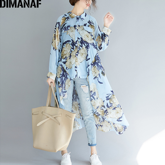 DIMANAF Plus Size Women Blouse Elegant Lady Tops Shirts Long Sleeve Print Floral Female Clothes Loose Casual Beach Summer 2019