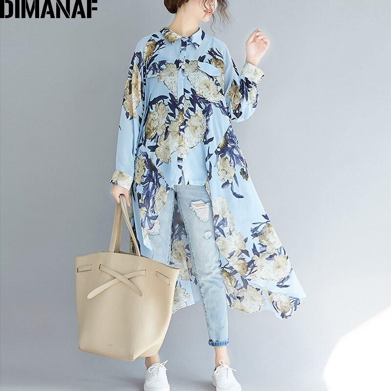 DIMANAF Plus Size Women Blouse Elegant Lady Tops Shirts Long Sleeve Print Floral Female Clothes Loose Casual Beach Autumn 2019