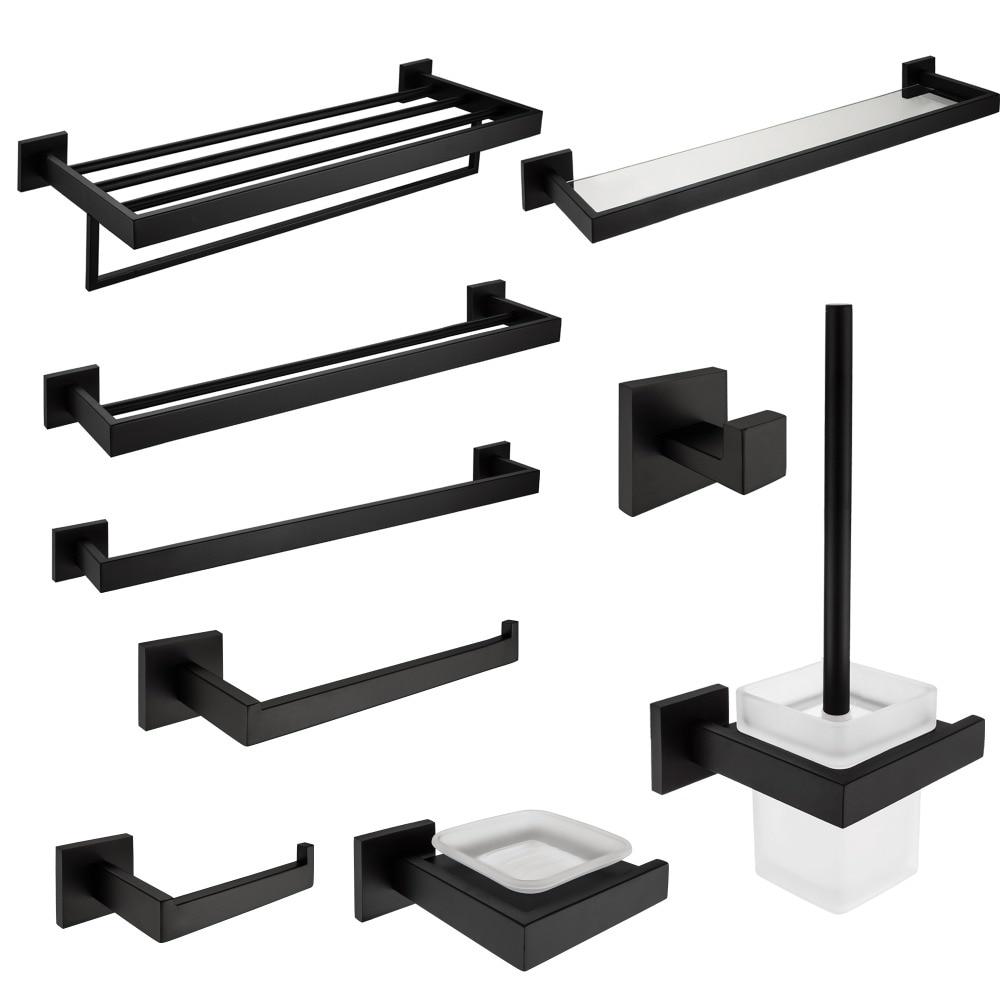 Sus 304 Stainless Steel Bathroom Hardware Set Black Matte Paper Holder Toothbrush Holder Towel