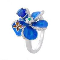 RainMarch Аутентичные 925 стерлингов серебряные кольца для женщин голубой эмалью цветок серебро обручение кольцо DIY ювелирных изделий