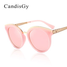 Luxury Women Mirror Sunglasses Fashion Brand Designer UV400 Pink Lady Sun Glasses Female Metal Frame