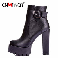 New Winter Women Boots Punk Buckle Round Toe High Boots Square Heel Ankle Boots For Women