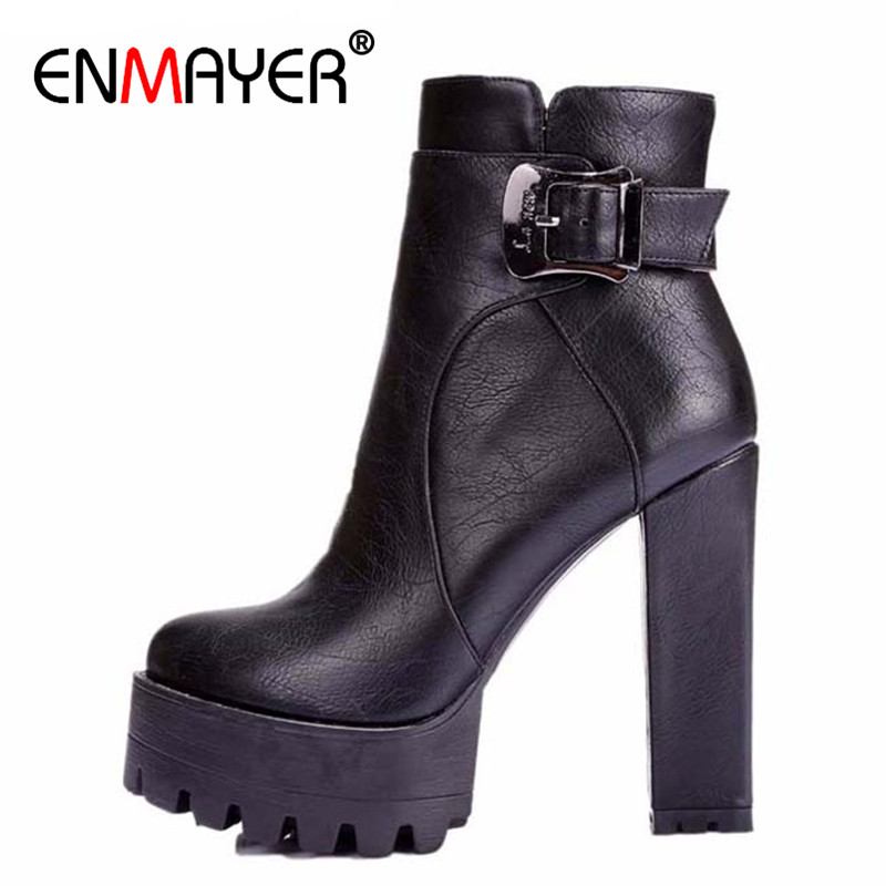 ENMAYER Winter Women Boots Buckle Round Toe High Boots Square Heel Ankle Boots for Women Platform Martin Boots Big Size 34-42 steel toe women combat ankle boots platform ankle boots for women work