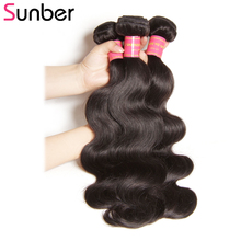 SUNBER HAIR Brasilian Body Wave 3pcs / lot 100% Remy Hair Weave Bundles Deal 8-30 tums kan med färgad fri frakt