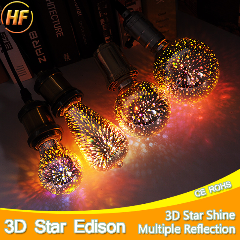 E27 LED Lamp Light Bulb 3D Decoration Bulb 110V 220V 240V Holiday Lights A60 ST64 G80 G95 Novelty Lamp Christmas Decoration 3d fireworks led bulb light 220v e27 a60 st64 g80 g95 g125 novelty decoration lamp christmas lighting
