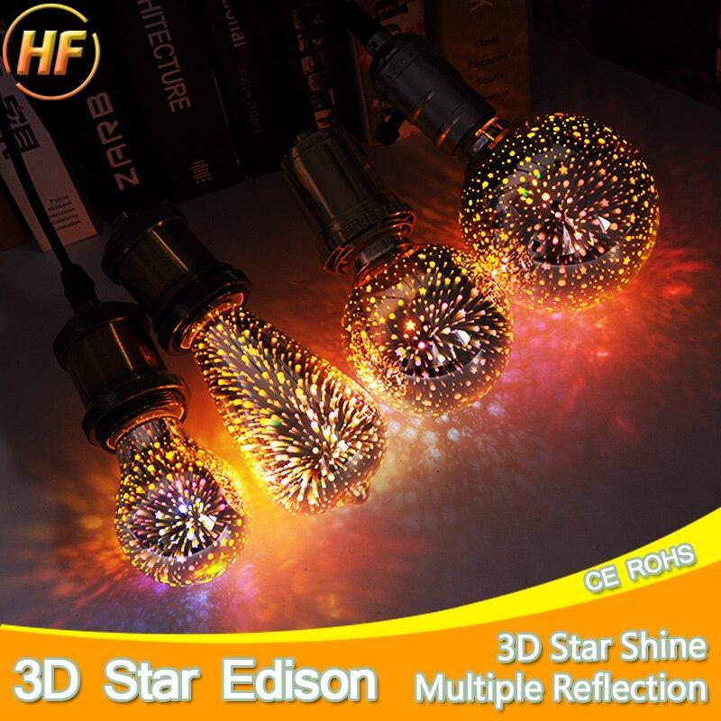 E27 LED Lamp Light Bulb 3D Decoration Bulb 110V 220V 240V Holiday Lights A60 ST64 G80 G95 Novelty Lamp Christmas Decoration