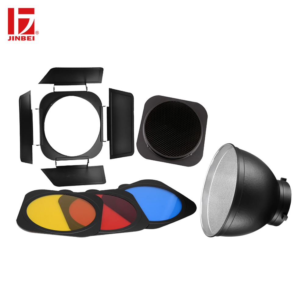 JINBEI Bowens Mount Standard Reflector & Barn Door with Honeycomb Grid and 3 Color Filters Gel Kit for Studio Photography