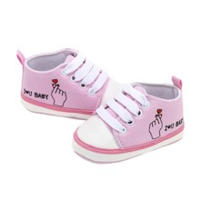 2019 new New Pattern Letter Printed Canvas Shoes Baby Lace-up Toddler Girl  Boy