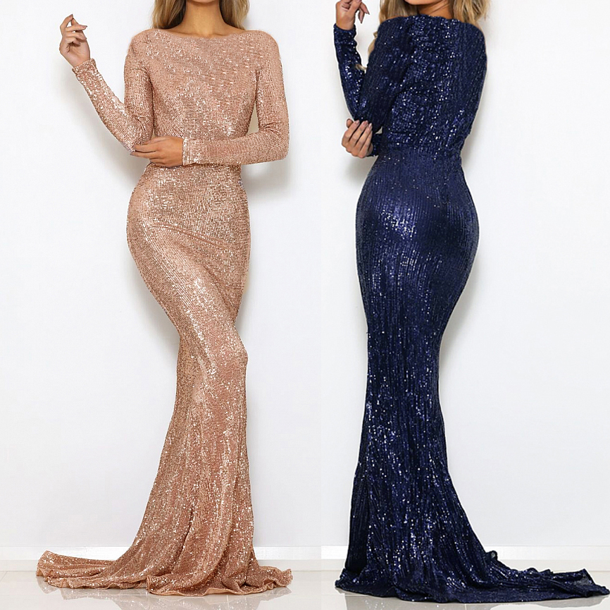 Image 2 - Stretchy Sequined Night Party Dress Floor Length O Neck Full Sleeved Maxi Dress Champagne Gold Navy Black Green-in Dresses from Women's Clothing