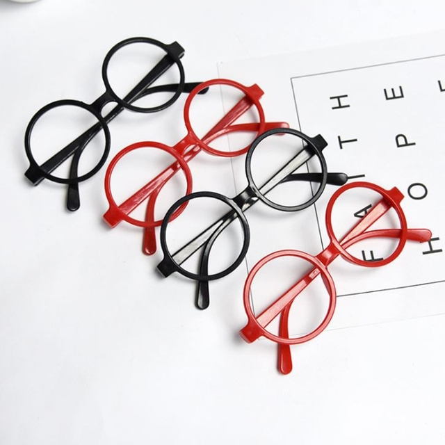 9158412c51 Childrens Kids Round Shape Black Or Red Frame Fashion Glasses Christmas Gift