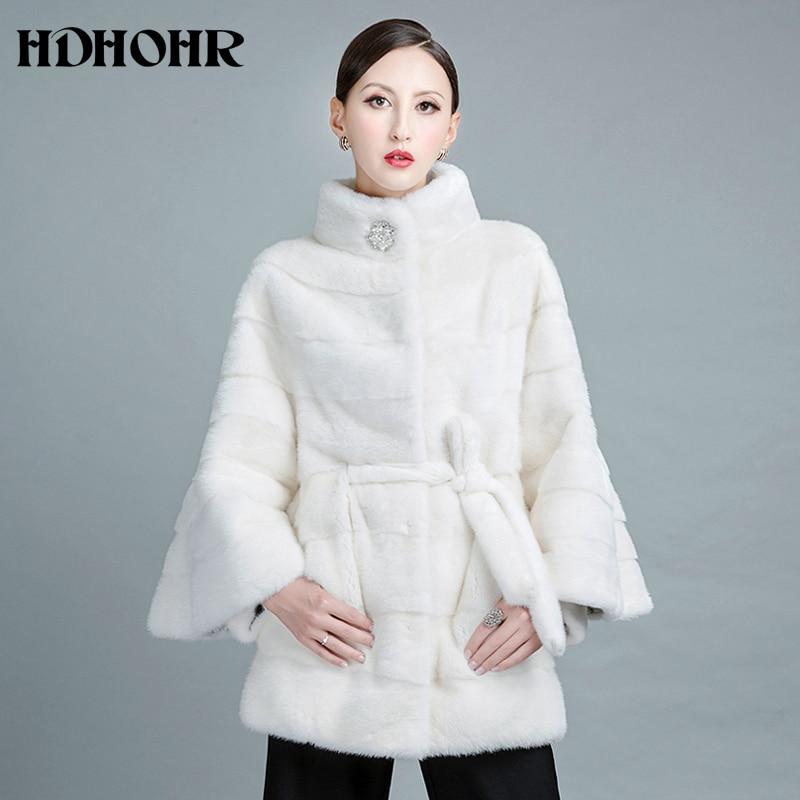 HDHOHR 2019 Új fehér pamut szőrme kabát természetes mink bundák - Női ruházat