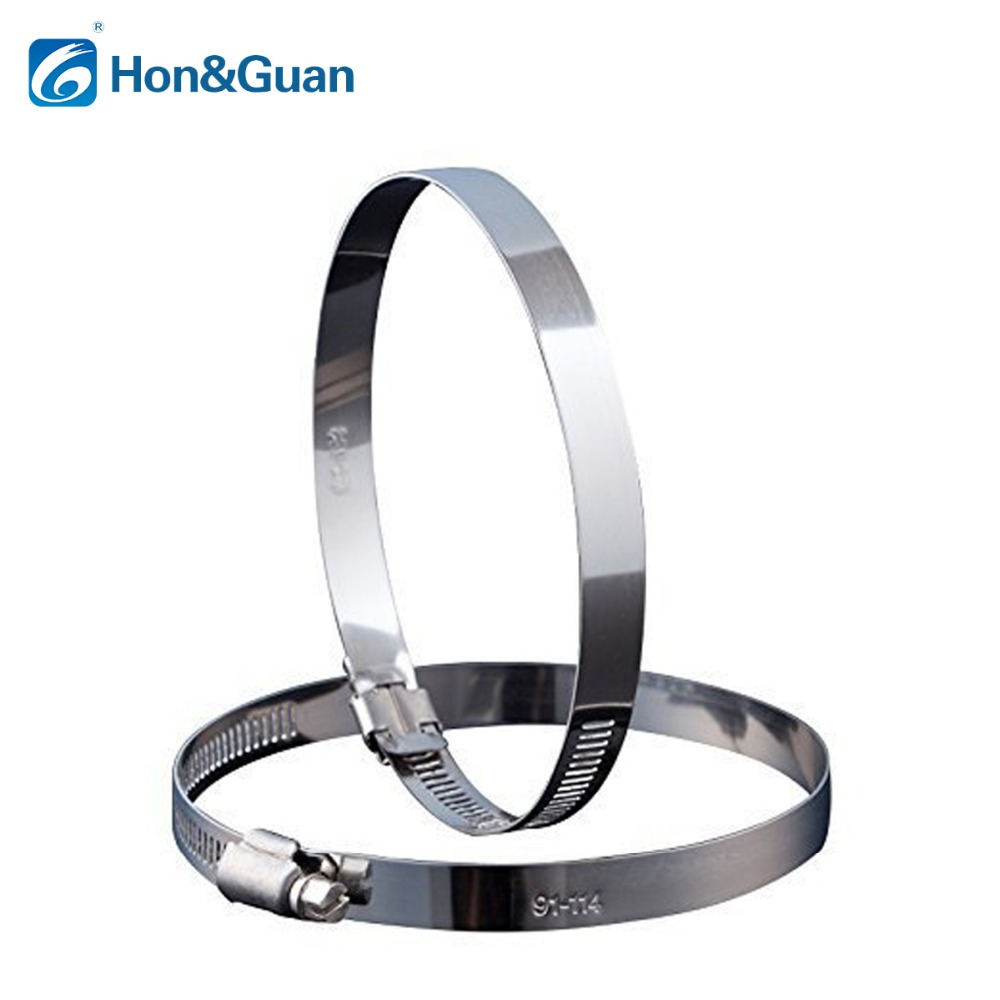 Hon&Guan 2pcs 5inch Stainless Steel Hose Clips Duct Clamps Adjustable Worm Drive Hose Clamp For Inline Duct Fan (125mm) 10pcs hose clamp double ears o clips clamp worm drive fuel water hose pipe clamps clips