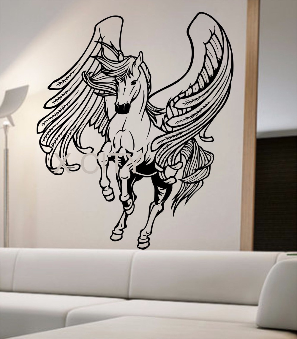 Pegasus wall decal sticker art decor home bedroom design for Decal wall art mural