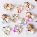 Acrylic Flowers Decorated Alloy Rhinestone Button Patch Sticker Charm Craft Gold Gold tone Metal Flowers Stikcers Craft Fit DIY