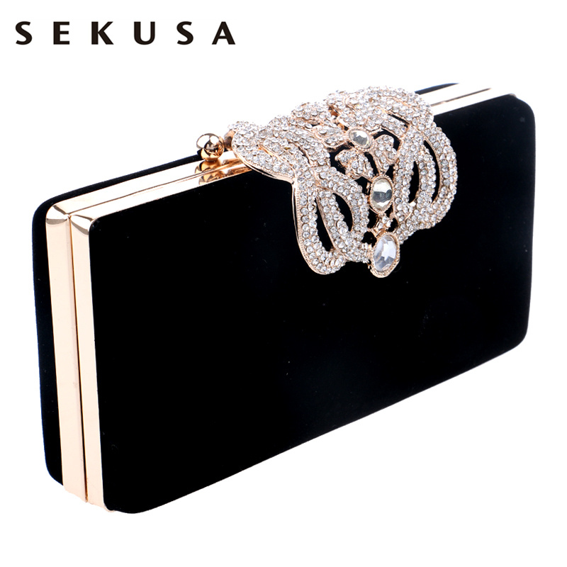 SEKUSA Purse Clutch Shoulder-Bag Evening-Bags Rhinestones Mini Lady Crown Diamonds