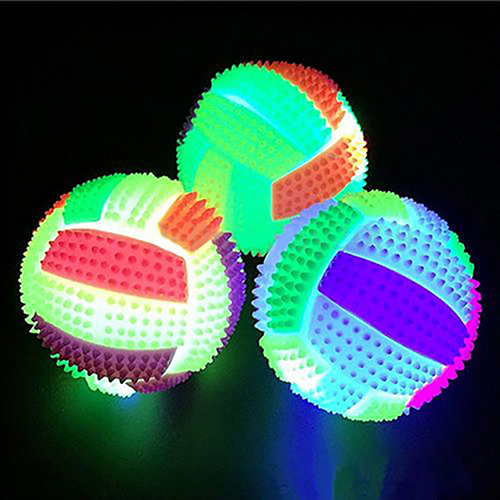 6.5cm Luminous Bouncing Ball Night Light Flash Football Vent Ball Children Pet Game Toy Dog Cat Kids Girls Boys Gift