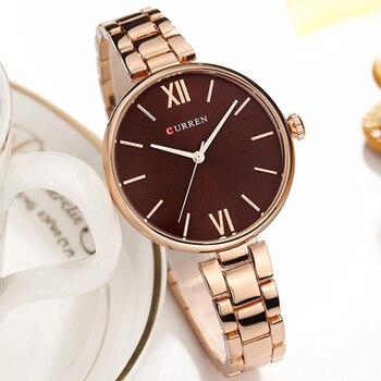 New CURREN Women Watches Luxury Brand Watch Rose Gold Women Quartz Clock Creative Wood Pattern Dial Fashion Wristwatch дамски часовници розово злато