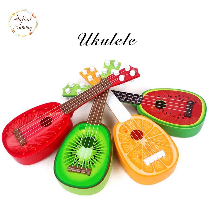 Trẻ sơ sinh Shining Ukulele Nhạc Cụ Trẻ Em Mini Bốn Dây Đàn Guitar Có Thể Chơi Cụ Đồ Chơi Giáo Dục cho Trẻ Em