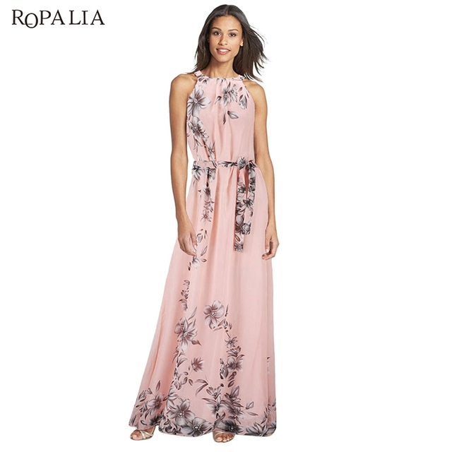 ROPALIA Women Long Dress O Neck Floral Print Chiffon Maxi Dress Elegant  Casual Boho Party Dresses Vestidos With Belt 84fcd511089d