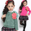 Free shipping New arrival girl flower adornment single-breasted fleece long-sleeved jacket outerwear