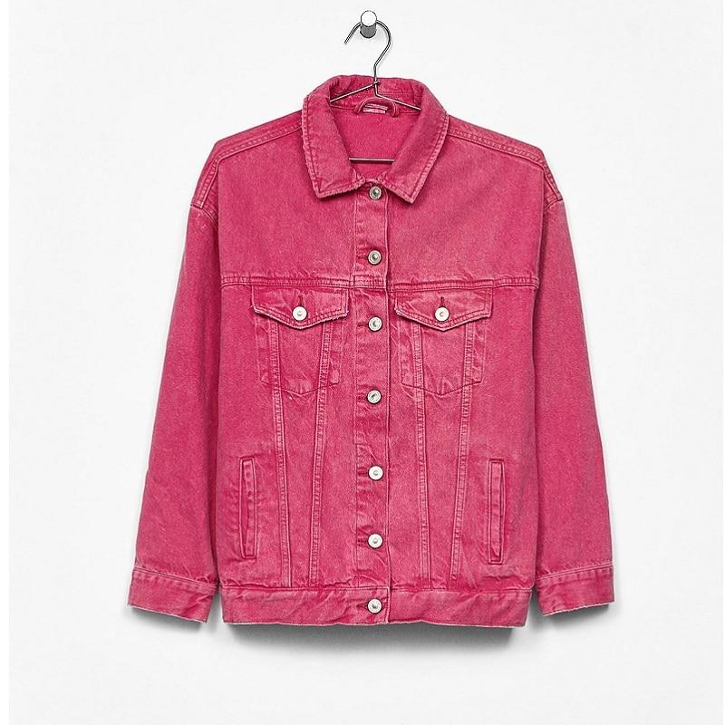 Hchenli Brand 2018 Women Short Jeans Jacket Pink black green Ladies Elegant denim Jacket zipper outerwear printing fruit outwear