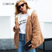 72a33e799b9c2 COLROVIE плюс размеры хаки одноцветное толстовки Элегантные зимние плюшевые  пальто женская одежда 2018 уличная теплая женская ве.