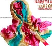 Femmes magnifiques ombragée 100% soie Satin Sarongs Hijabs Bandanas Scarf wrap châle poncho grand 180 * 110 cm 9 pcs/lote # 3352