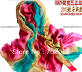gorgeous women's shaded 100% silk Satin Sarongs Hijabs Bandanas Scarf wrap shawl poncho LARGE 180*110cm 9pcs/lot #3352