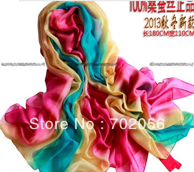 gorgeous women's shaded 100% silk Satin Sarongs Hijabs Bandanas   Scarf     wrap   shawl poncho LARGE 180*110cm 9pcs/lot #3352