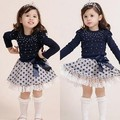 Kids Girls Suits Baby Long Sleeve T-shirts Tops+Polka Dots Mini Skirts 2PCS Set Child Suits
