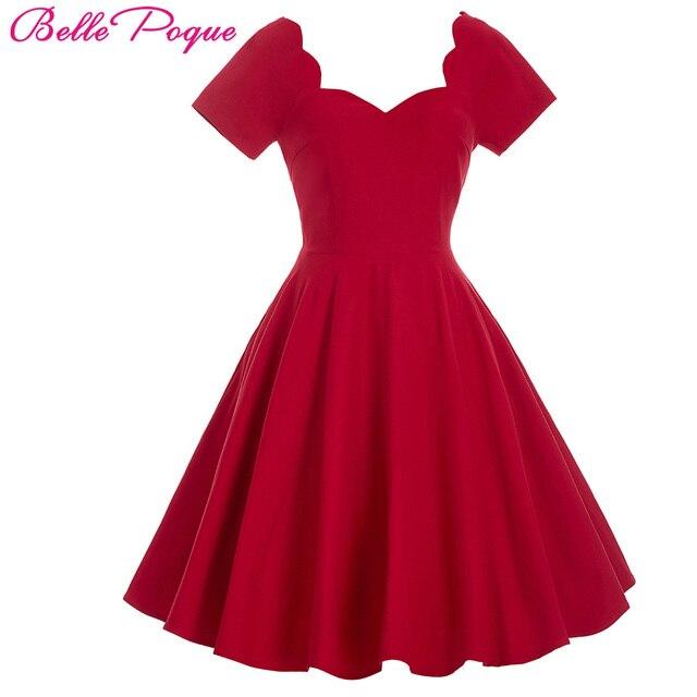 1950 s 60 s Рокабилли Dress 2016 Одеяние Sexy V Шеи Красный случайные Элегантный Лето Dress Туника Vestidos Ретро Винтаж Свинг Партии Dress