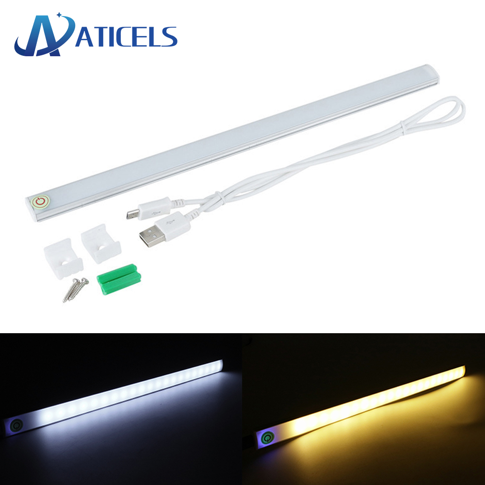 USB Touch Sensor Under Cabinet Light Touch Dimming Ultra Thin Led Bar Light 30cm For Closet Kitchen Reading Night Light