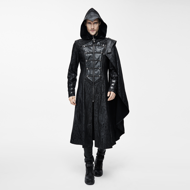Punk over the knee long cavalry wizard cloak leather trench coat Gothic detachable two winter coat coat
