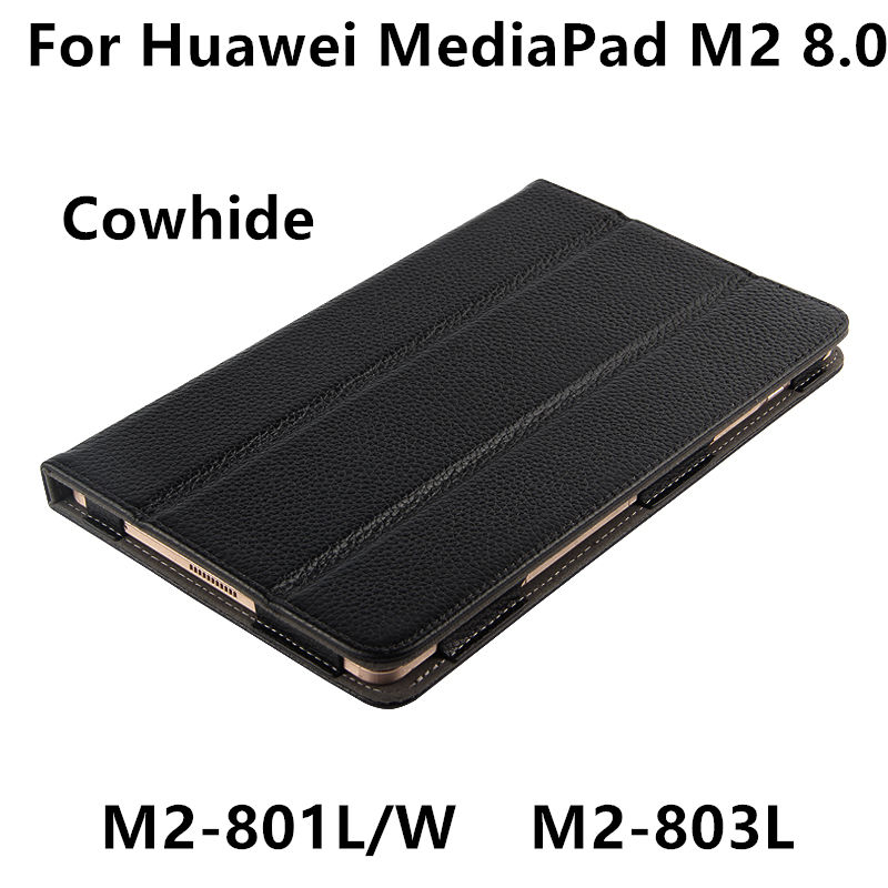 Case Cowhide For Huawei Mediapad M2 8.0 Protective Smart Cover Genuine Leather Tablet For HUAWEI M2-801W/L M2-803L Protector