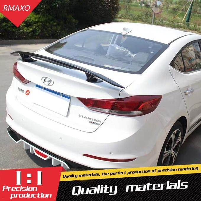 For Elantra Spoiler 2016 2019 For Hyundai Elantra TF Spoiler ABS Material Car Rear Wing Primer Color Rear Spoiler|Spoilers & Wings| |  - title=
