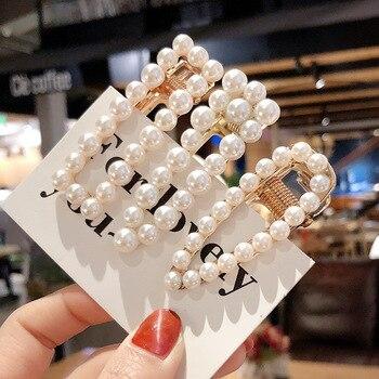 Woman Elegant Geometric Pearl Hairpins Korean Style Hair Clips Alloy Barrettes Girls Hair Accessories Hair Grips Headwear